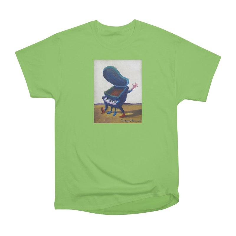 Small blue piano Women's Heavyweight Unisex T-Shirt by diegomanuel's Artist Shop
