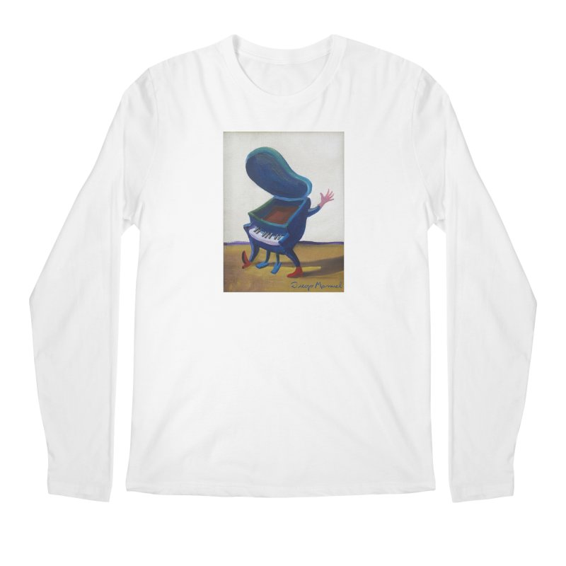 Small blue piano Men's Regular Longsleeve T-Shirt by diegomanuel's Artist Shop