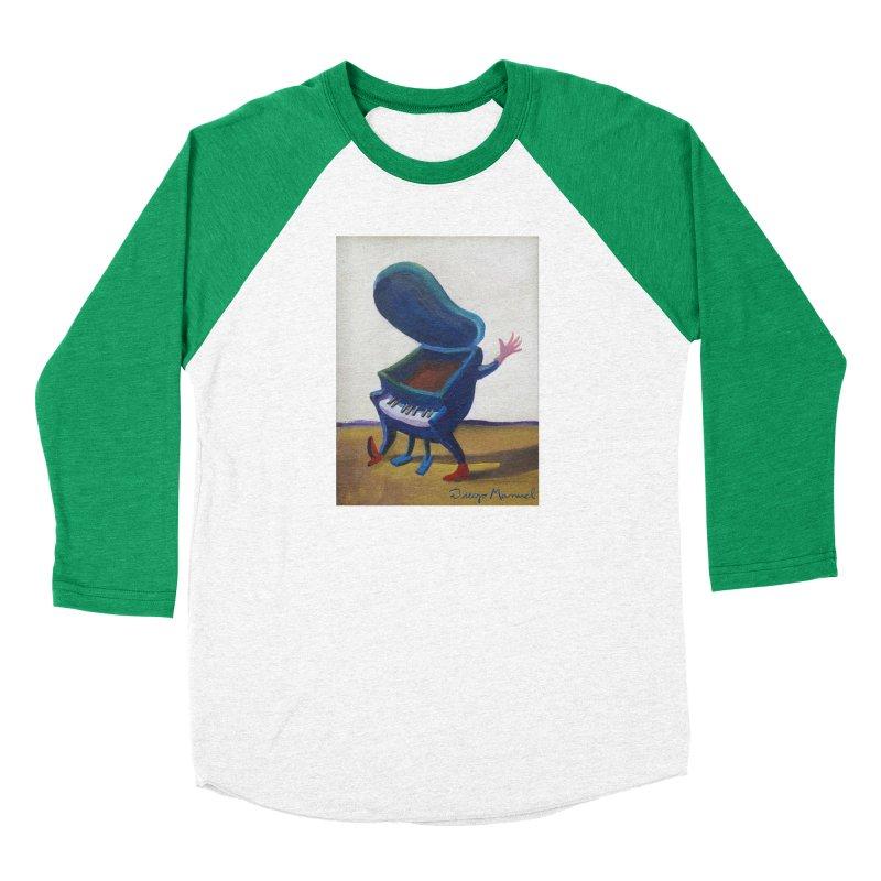 Small blue piano Women's Baseball Triblend Longsleeve T-Shirt by diegomanuel's Artist Shop
