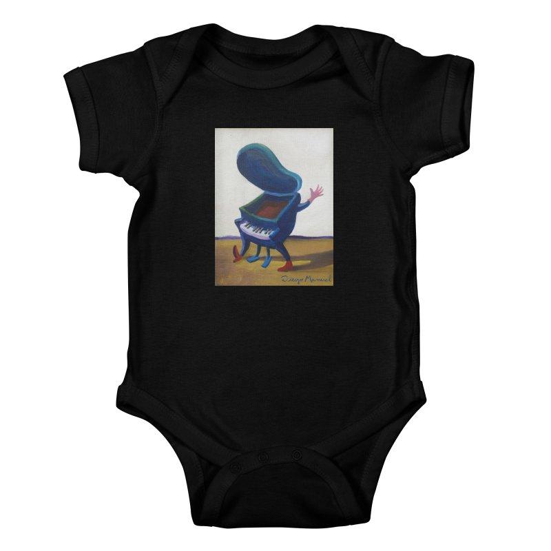 Small blue piano Kids Baby Bodysuit by diegomanuel's Artist Shop