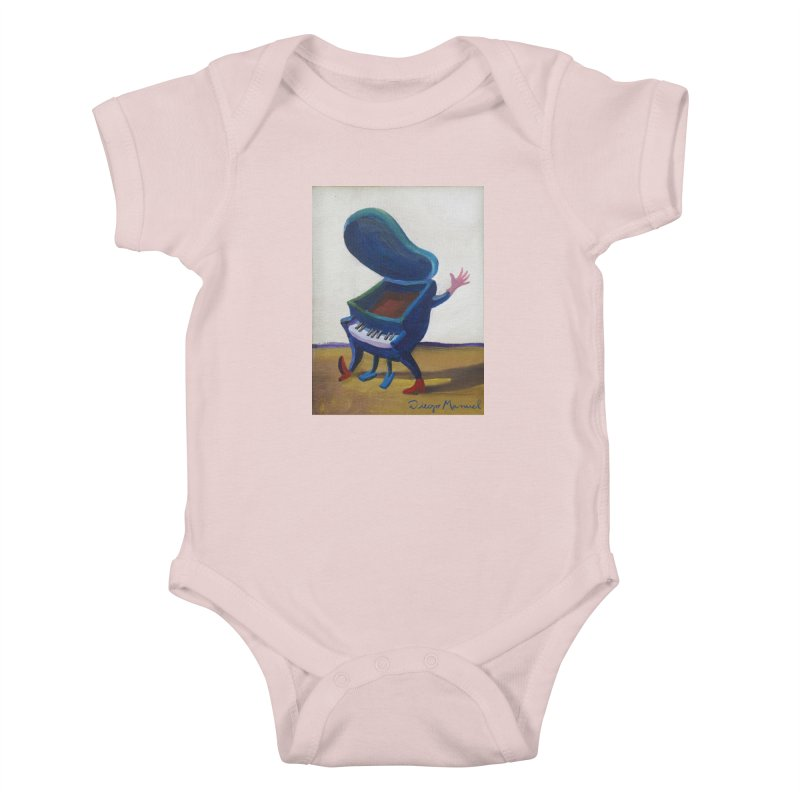 Small blue piano Kids Baby Bodysuit by diegomanuel's Artist Shop