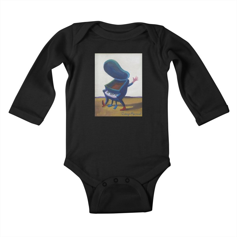 Small blue piano Kids Baby Longsleeve Bodysuit by diegomanuel's Artist Shop