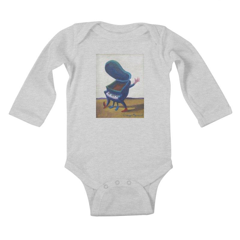 Small blue piano Kids Baby Longsleeve Bodysuit by diegomanuel's Artist Shop
