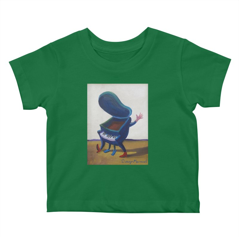 Small blue piano Kids Baby T-Shirt by diegomanuel's Artist Shop