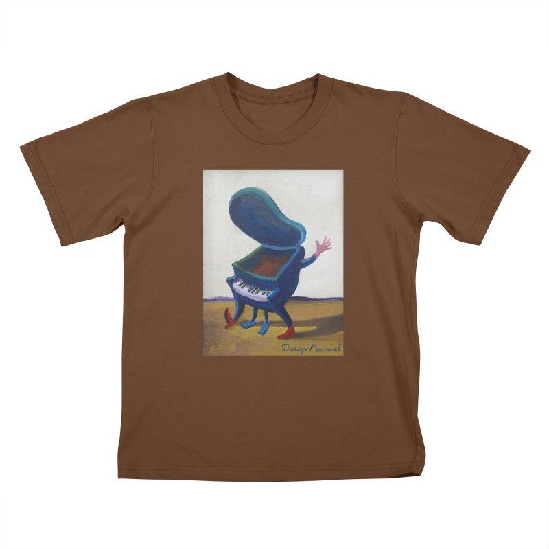 Small blue piano Kids T-Shirt by diegomanuel's Artist Shop
