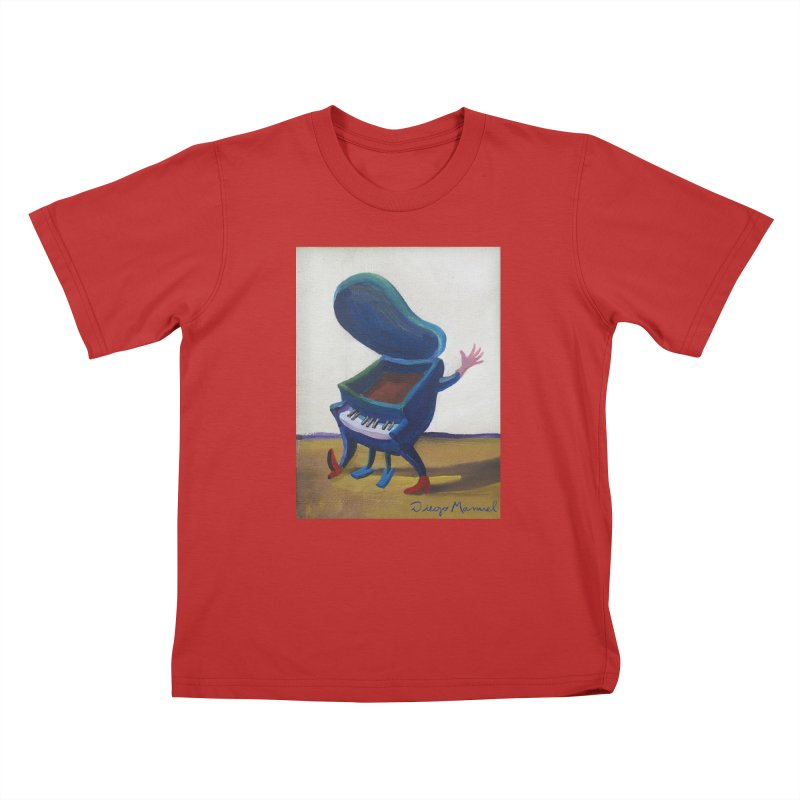 Small blue piano Kids T-Shirt by diegomanuel's Artist Shop