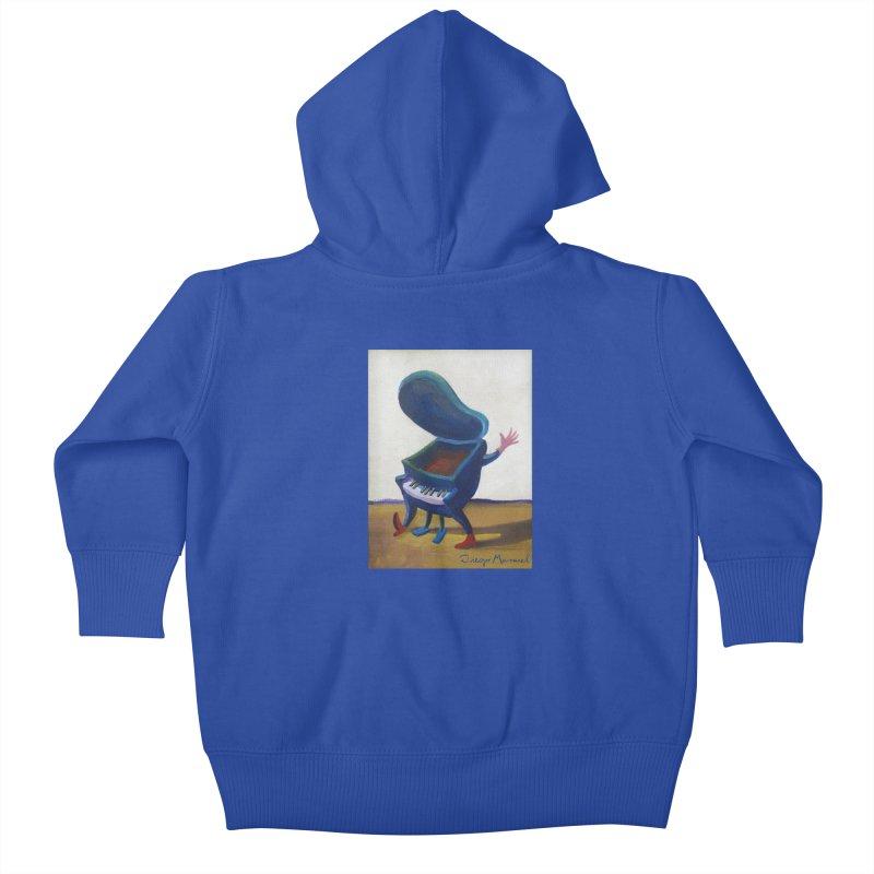 Small blue piano Kids Baby Zip-Up Hoody by diegomanuel's Artist Shop