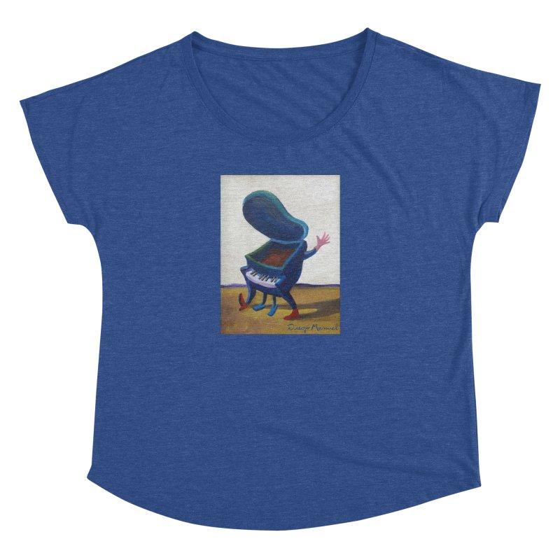 Small blue piano Women's Dolman Scoop Neck by diegomanuel's Artist Shop