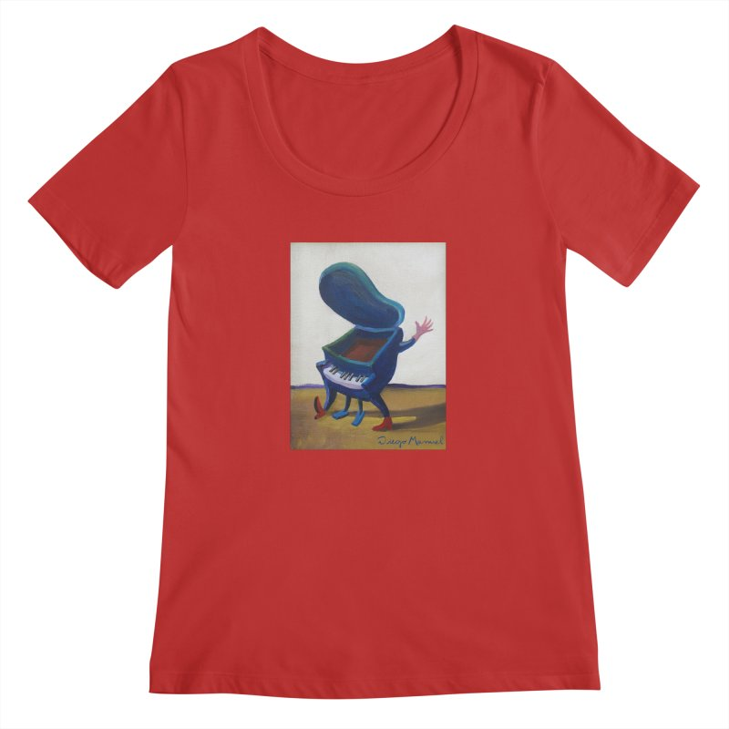 Small blue piano Women's Regular Scoop Neck by diegomanuel's Artist Shop