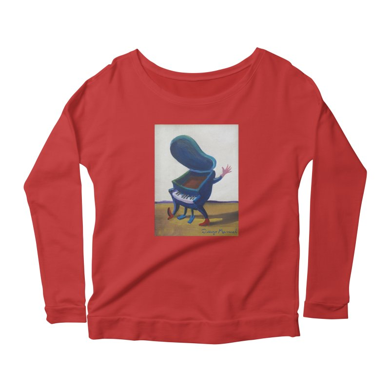 Small blue piano Women's Scoop Neck Longsleeve T-Shirt by diegomanuel's Artist Shop