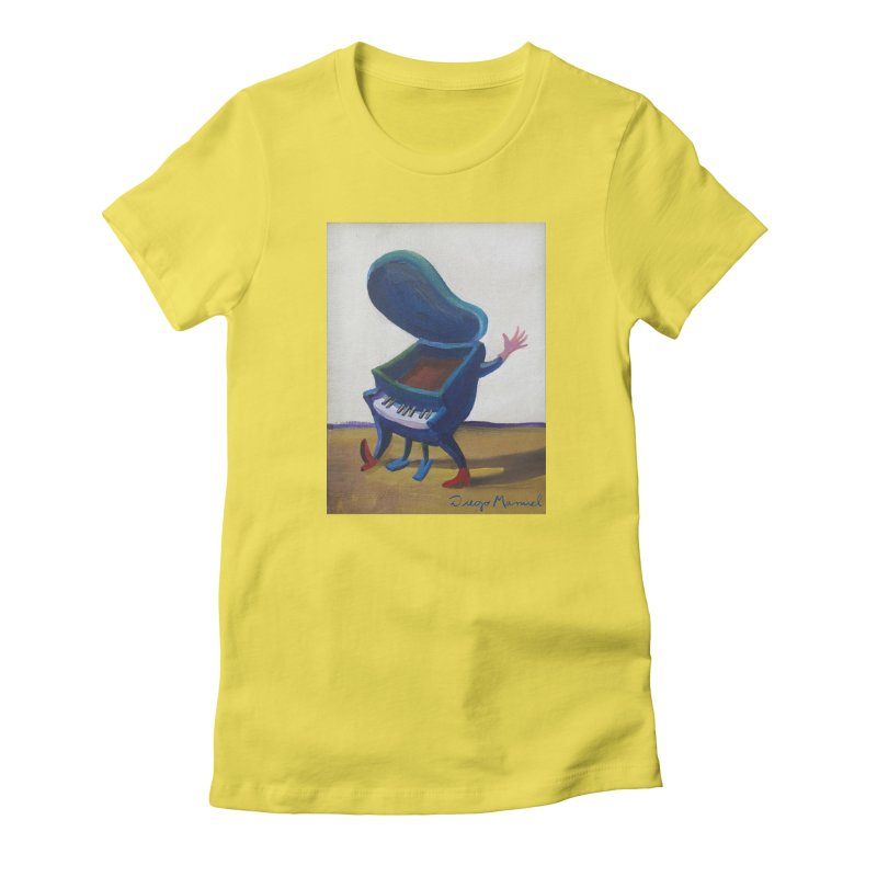 Small blue piano Women's Fitted T-Shirt by diegomanuel's Artist Shop