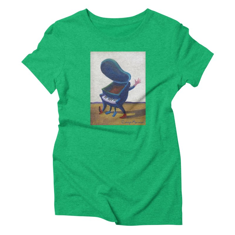 Small blue piano Women's Triblend T-Shirt by diegomanuel's Artist Shop