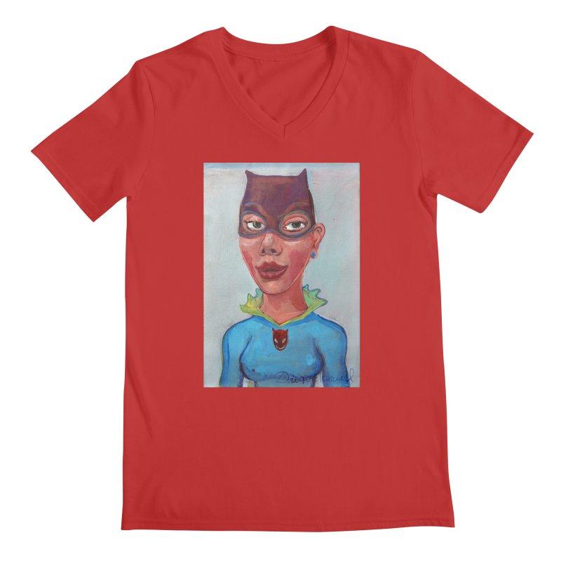 Girl in a cat suit Men's Regular V-Neck by diegomanuel's Artist Shop