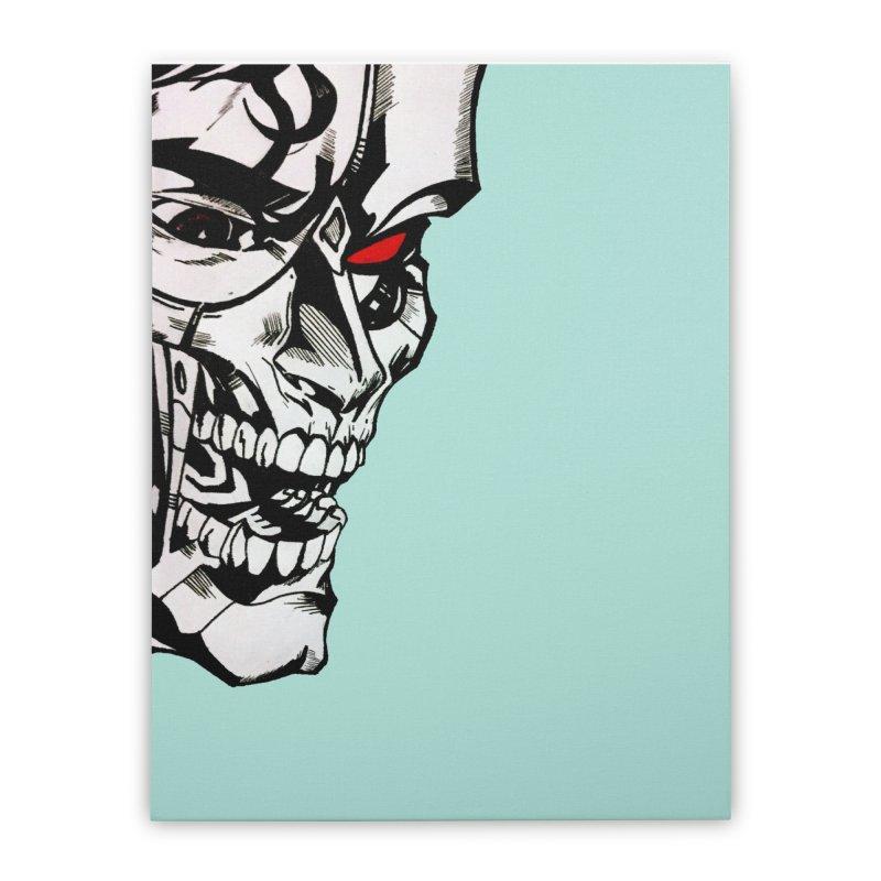 Half machine, half villain Home Stretched Canvas by DieGraphics print corner