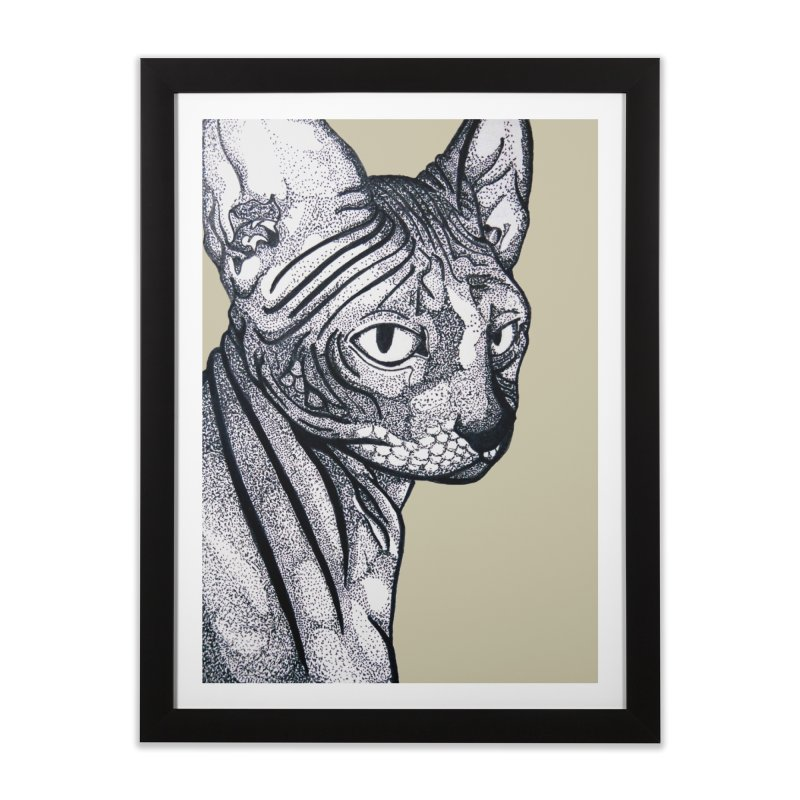 Feline dots Home Framed Fine Art Print by DieGraphics print corner
