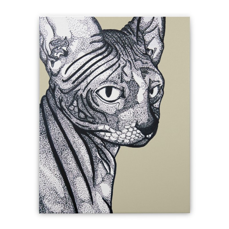 Feline dots Home Stretched Canvas by DieGraphics print corner