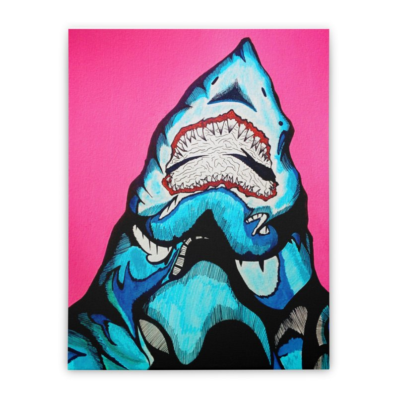 Neon sea predator Home Stretched Canvas by DieGraphics print corner