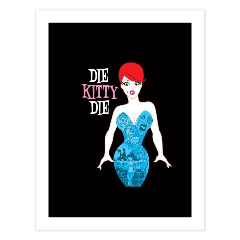Blue Dress Kitty Home Fine Art Print by Die Kitty Die Shop