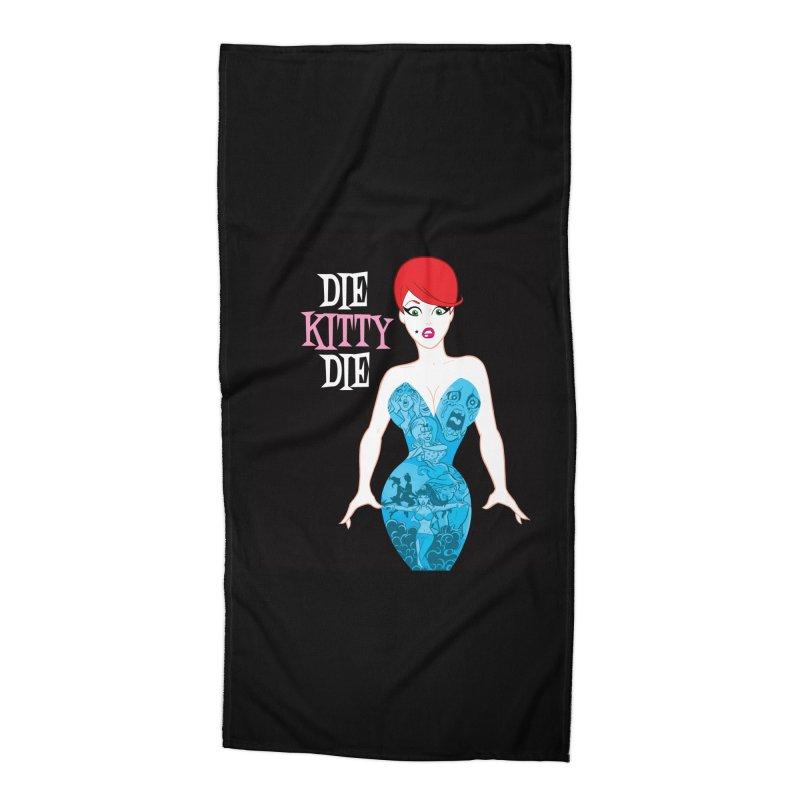 Blue Dress Kitty Accessories Beach Towel by Die Kitty Die Shop