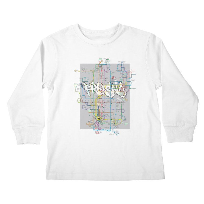 Fresno, CA Kids Longsleeve T-Shirt by digifab's lab