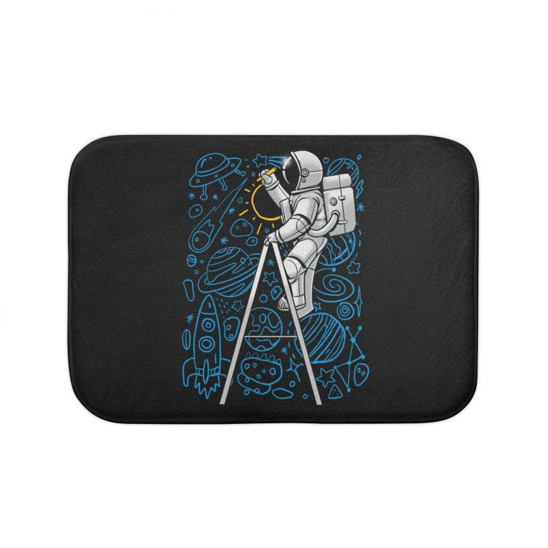 Space Doodle Home Bath Mat by digital carbine