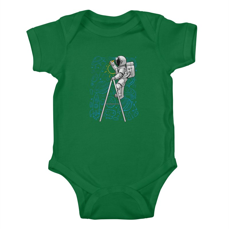 Space Doodle Kids Baby Bodysuit by digital carbine