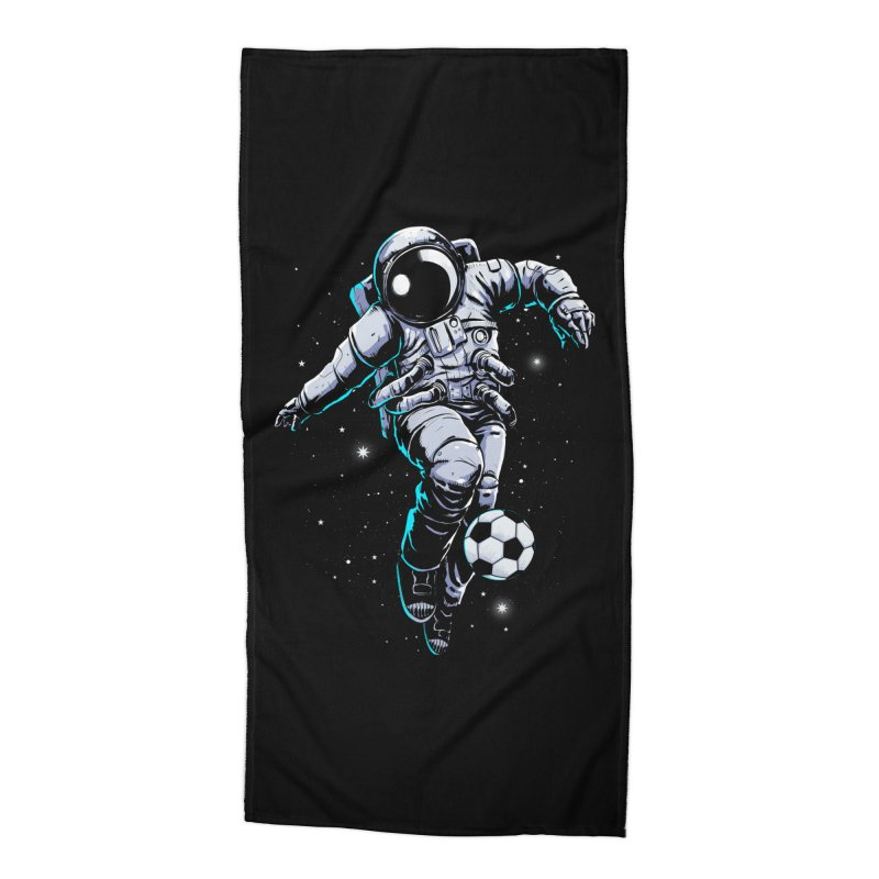 Space Soccer Accessories Beach Towel by digital carbine