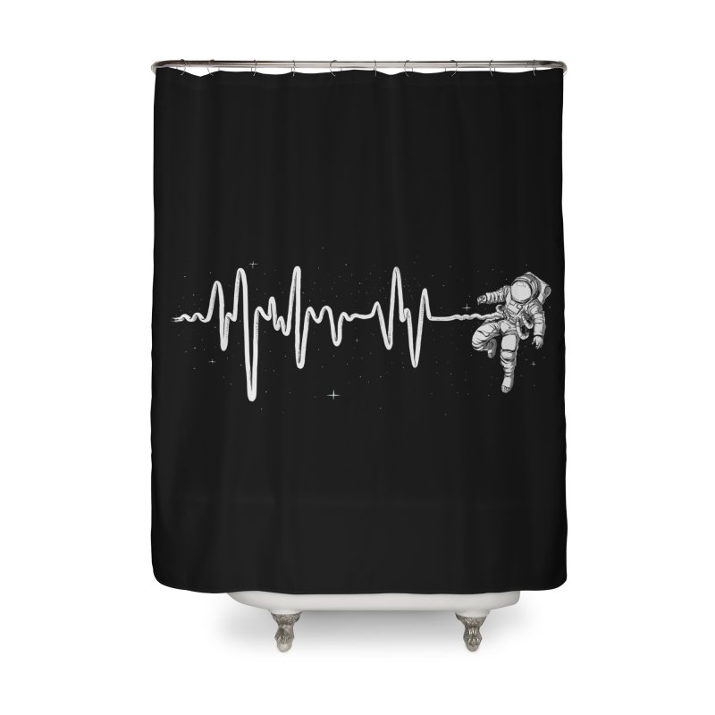 Space Heartbeat Home Shower Curtain by digital carbine