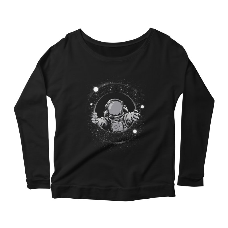Black Hole Women's Scoop Neck Longsleeve T-Shirt by digital carbine