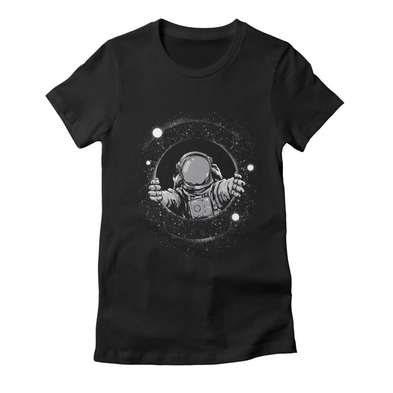 Black Hole Women's Fitted T-Shirt by digital carbine