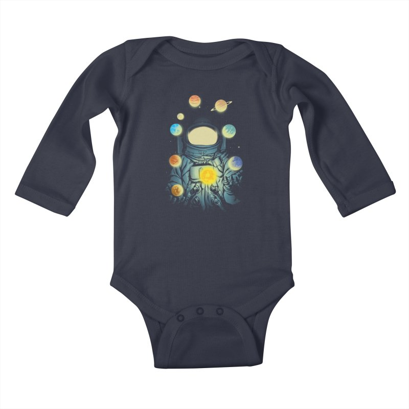 Juggling Planets Kids Baby Longsleeve Bodysuit by digital carbine
