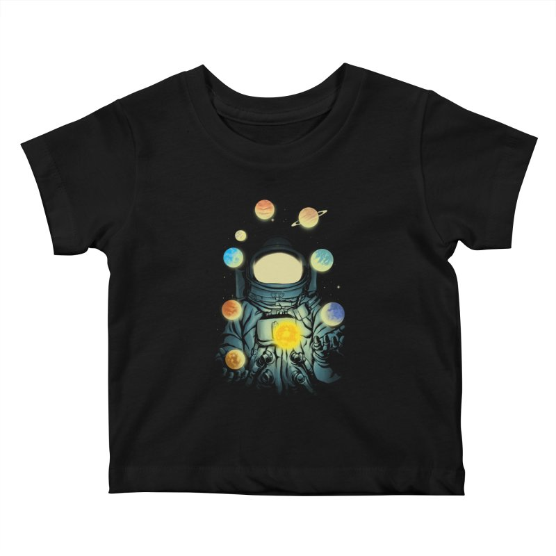 Juggling Planets Kids Baby T-Shirt by digital carbine