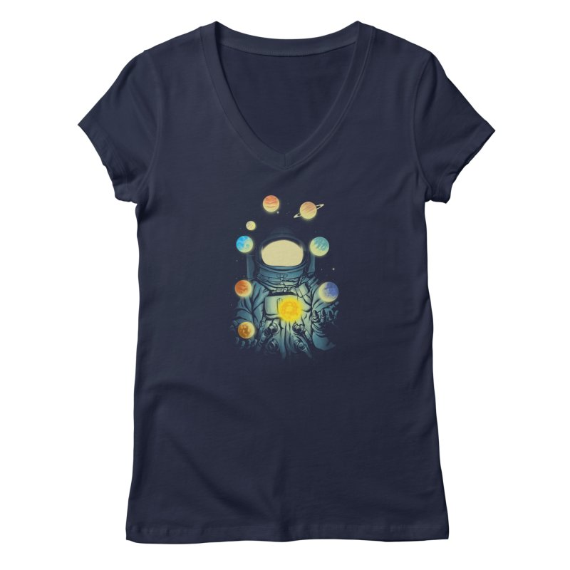 Juggling Planets Women's Regular V-Neck by digital carbine