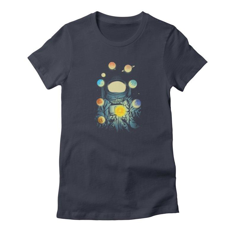 Juggling Planets Women's T-Shirt by digital carbine