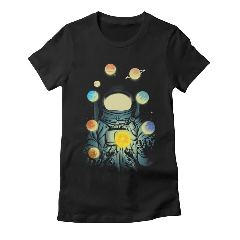 Juggling Planets Women's Fitted T-Shirt by digital carbine