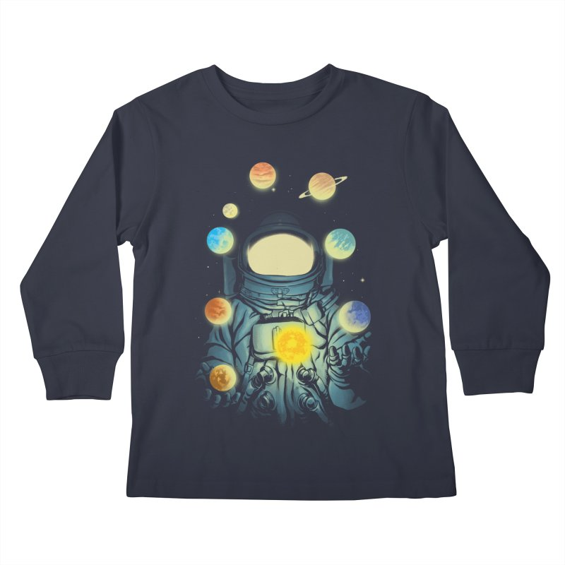 Juggling Planets Kids Longsleeve T-Shirt by digital carbine