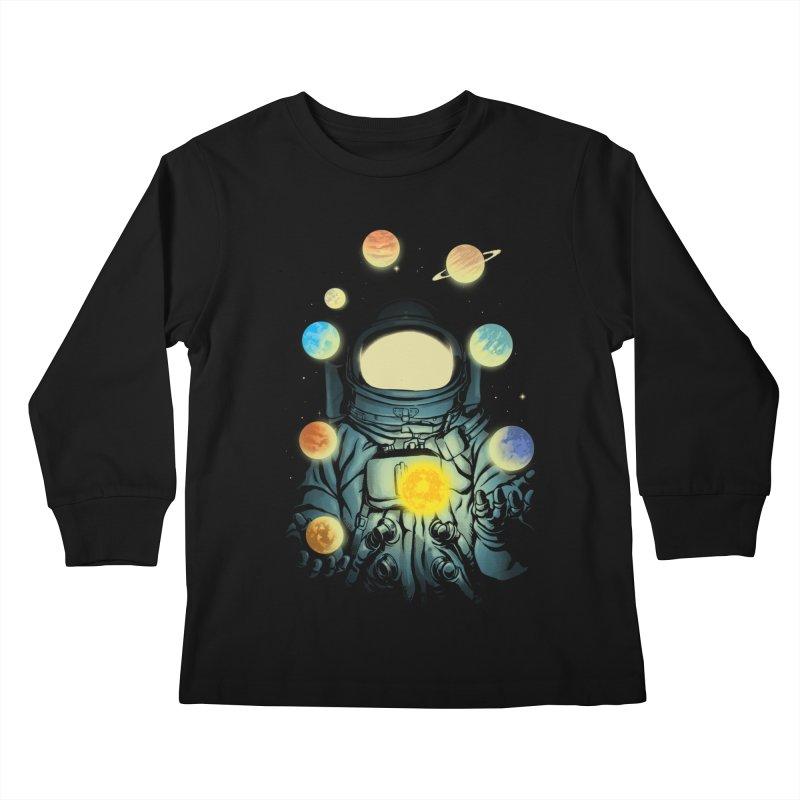 Juggling Planets Kids Longsleeve T-Shirt by digital carbine