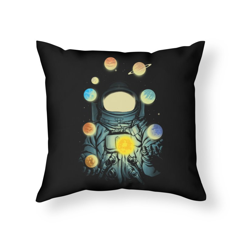 Juggling Planets Home Throw Pillow by digital carbine