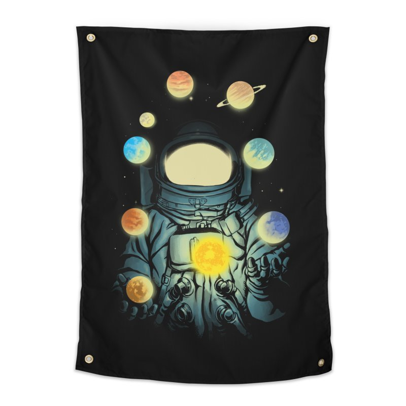 Juggling Planets Home Tapestry by digital carbine