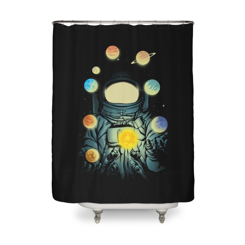 Juggling Planets Home Shower Curtain by digital carbine