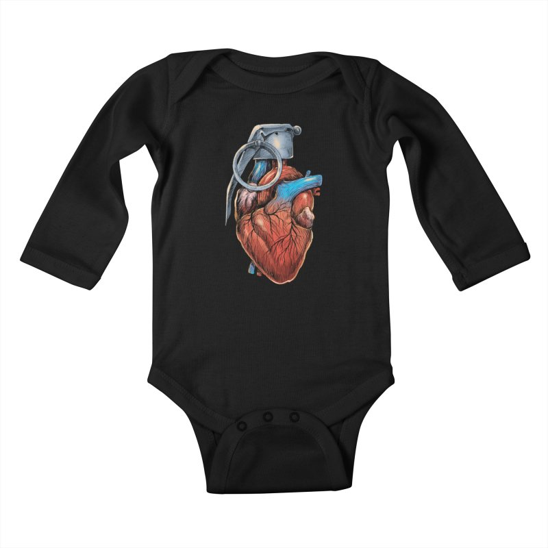 Heart Grenade Kids Baby Longsleeve Bodysuit by digitalcarbine