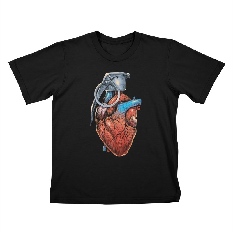 Heart Grenade Kids T-Shirt by digitalcarbine
