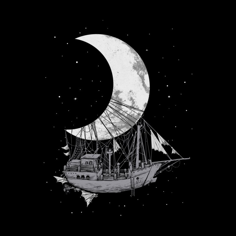 Moon Ship Kids Longsleeve T-Shirt by digital carbine