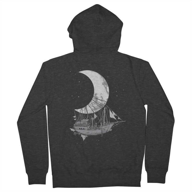 Moon Ship Men's French Terry Zip-Up Hoody by digital carbine