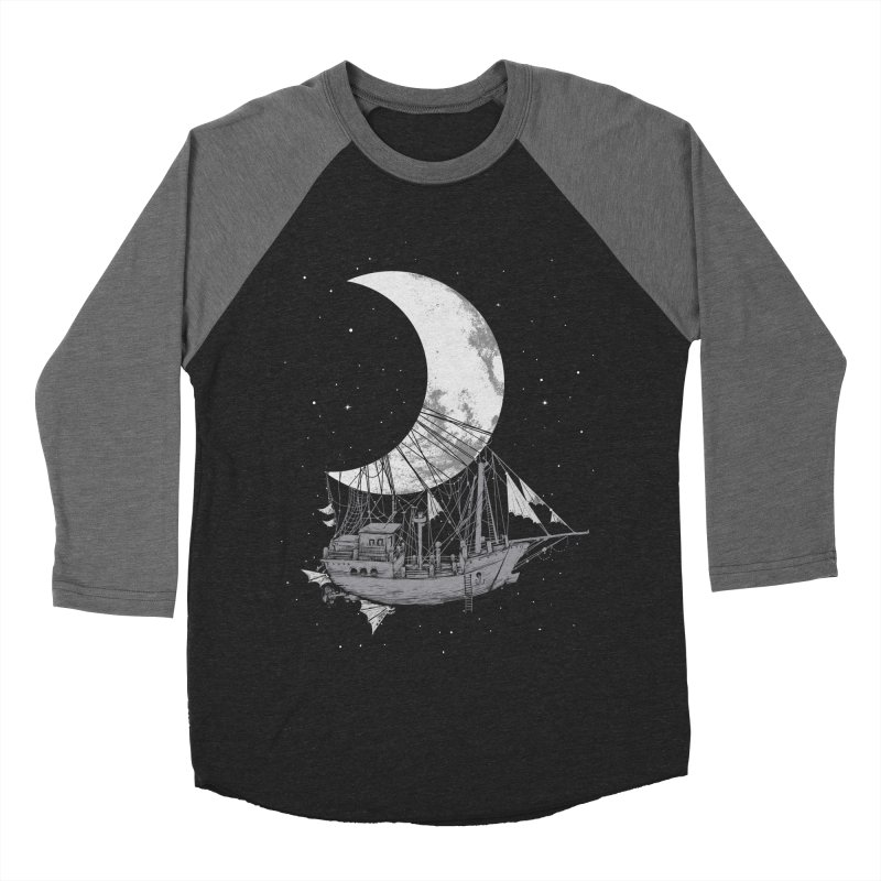 Moon Ship Men's Baseball Triblend Longsleeve T-Shirt by digital carbine