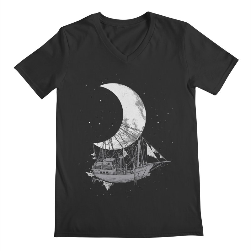 Moon Ship Men's Regular V-Neck by digital carbine