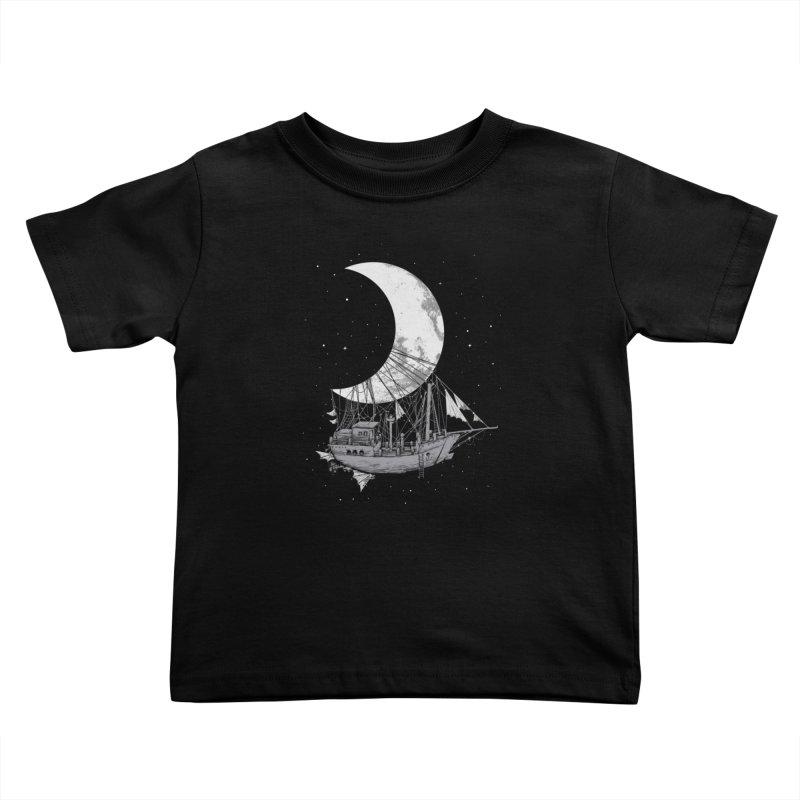 Moon Ship Kids Toddler T-Shirt by digital carbine