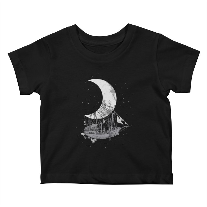 Moon Ship Kids Baby T-Shirt by digital carbine