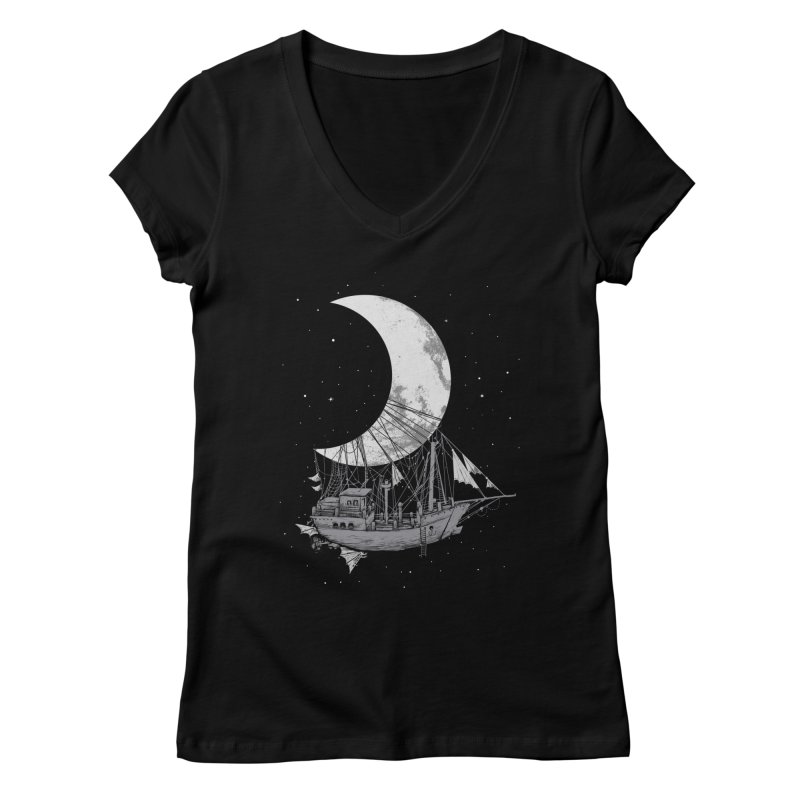 Moon Ship Women's Regular V-Neck by digital carbine
