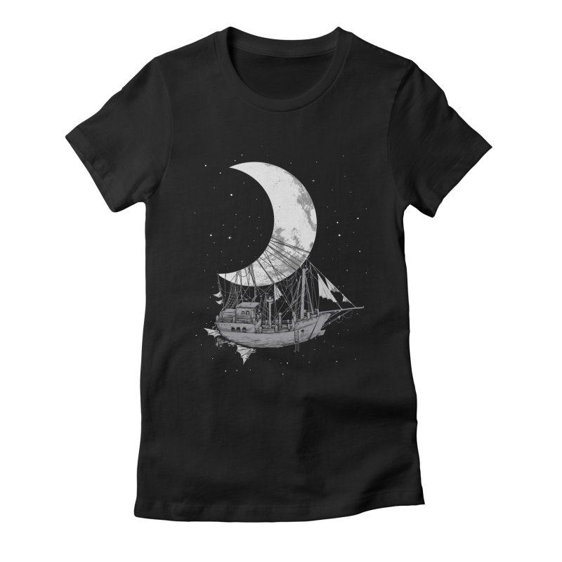 Moon Ship Women's Fitted T-Shirt by digital carbine